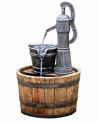 Pump on Wooden Barrel Garden Water Feature (Solar Powered) with Battery Back Up