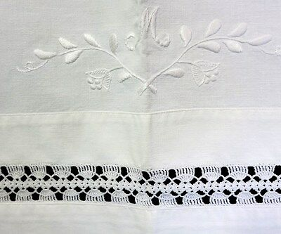 VINTAGE SHEET WITH HANDMADE CROCHET LACE and MONOGRAM - from Sweden