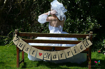 Just Married  Hessian Bunting Banner Wedding Vintage  Party Rustic Photo Props