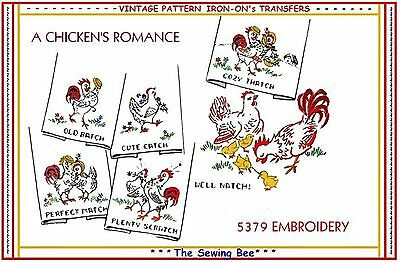 Chickens Rooster Peeps Barn Yard embroidery transfer pattern Iron-on # 5379