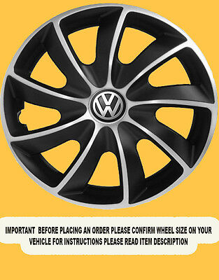 Vw Wheel Trims Hub Caps Covers 15 Inch Set Of 4 Caddy Touran Golf Sporty Look