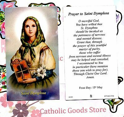 St Dymphna with Prayer to St Dymphna  - Paperstock Holy Card