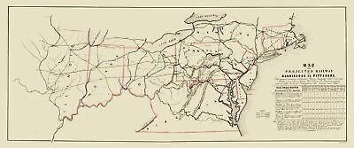 Old Railroad Map - Harrisburg to Pittsburg Projected Railway - 1840 - 23 x 55.15