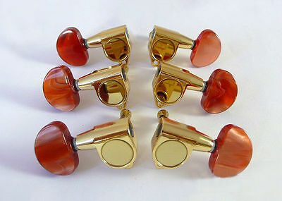 Free shipping-Acoustic guitar gold machine head +Amber red buttons 6ps 235G-A3R