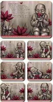 Red Buddha / Monks From The Soul Placemats x 6 & Coasters  x 6 By Lisa Pollock