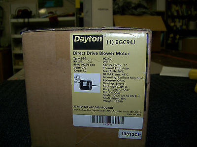 Dayton Direct Drive Blower Motor Type: PSC 3/4 HP 1075 RPM 3 Speed 277 Volts