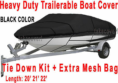 Crownline 200 DB Boat Trailerable Cover All Weather HD black color