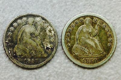 1850 & 1857 Seated Liberty Half dime coins