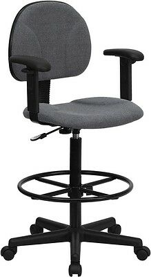 Gray Fabric Ergonomic Adjustable Drafting Stool with Arms