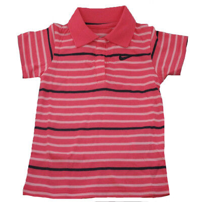 Nike Polo Shirt infants baby Girls Pink striped Short Sleeve cotton SportsTop
