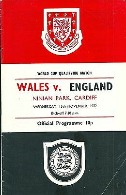 WALES v ENGLAND ~ 15 NOVEMBER 1972 ~WORLD CUP QUALIFIER ~ AT CARDIFF