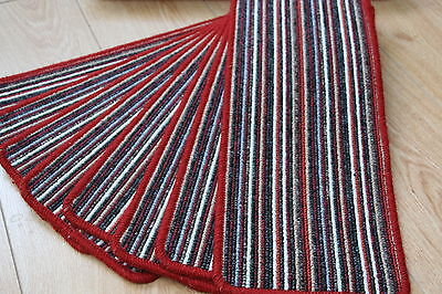 14 Red Stripey Open Plan Carpet Stair Treads Red Beige Pads 14 Large Pads Stripe