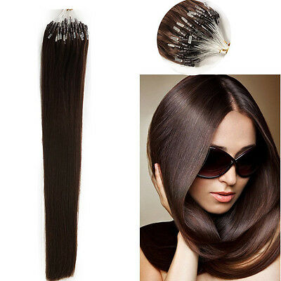 """20""""MICRO LOOP HUMAN HAIR EXTENSIONS 1G thick #2  1 G LOOP DOUBLE BONDED STRAIGHT"""