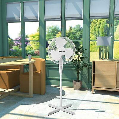 """16"""" Inch Oscillating Free Standing Fan Home Office Room 3 Speed Safety Grill NEW"""