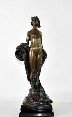 Signed French Art Nouveau Bronze Nude Female Figurine Statue