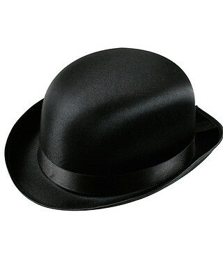 Satin Black Bowler Top Hat For Wedding, Races & Burlesque 1920s 50s 60s & Others