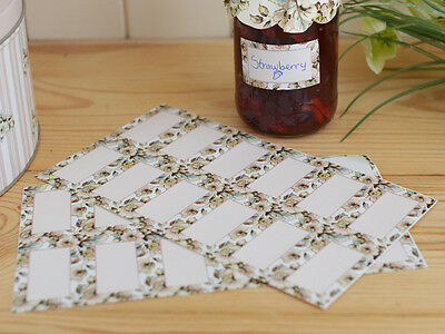 24 KATIE ALICE Cottage Flower SHABBY CHIC Self Adhesive Jam Jar Preserve LABELS