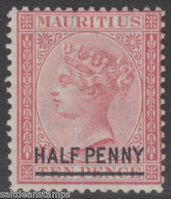 MAURITIUS - 1877 ½d. on 10d. Rose - Watermark Inverted MM / MH