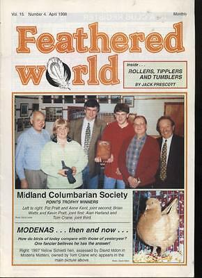 FEATHERED WORLD MAGAZINE - April 1998 on Poultry Pigeons