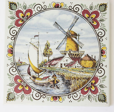 vintage Mosa Holland ceramic tile windmill fishing boat