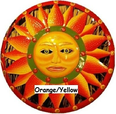 Metal Art Sun Face Wall Sculpture Indoor/Outdoor Garden Decor Hand Painted
