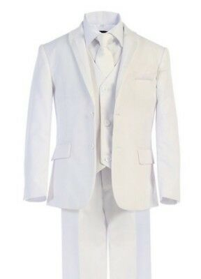 NEW BOYS WHITE DOUBLE 4BUTTON SUITS with Vest, neck tie and shirt FULL SET