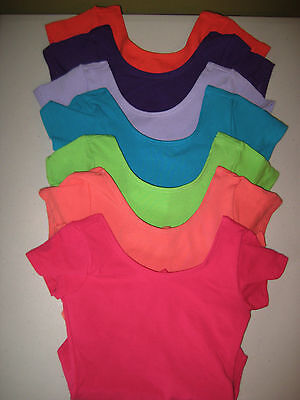 NEW Girls Leotard Bodysuit Cotton Jersey Spandex Cap Sleeved Lined Soft USA Made