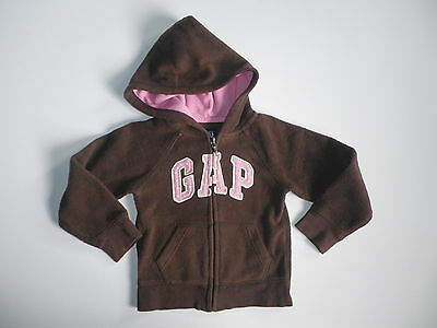 Gap Kids Logo Brown Fleece Girls Hoodie Jacket (B40) Sz 4