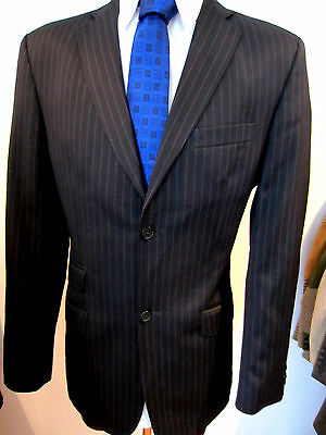 Ted Baker Black Pinstripe Jacket UK 40 EU 50 Long Fabulous Lining