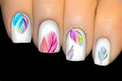 Rainbow Dreams FEATHER Nail Art Water Tattoo Transfer Decal Sticker