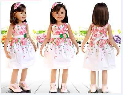Toddler Girls Summer Stylish Dress Floral Strawberry colourful piece size1-6year