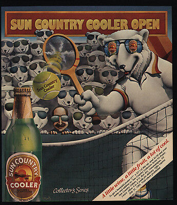 1985 SUN COUNTRY Wine Cooler - Polar Bear Playing Tennis -  VINTAGE AD