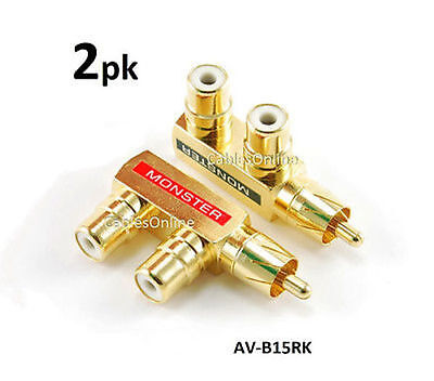 2-PACK RCA Gold-Plated 1-Male/2-Female Slim Line Signal Splitter Adapter