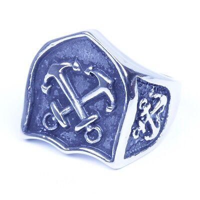 Silver Stainless Steel Celtic Medieval Cross and Shield Ring Size 8-13 SR145