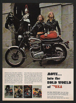 1968 BSA THUNDERBOLT Black Motorcycle - Pretty Women -  Thoroughbred VINTAGE AD