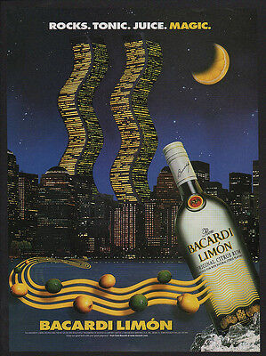 1998 BACARDI Limon Rum - WORLD TRADE CENTER TWIN TOWERS - NEW YORK -  VINTAGE AD