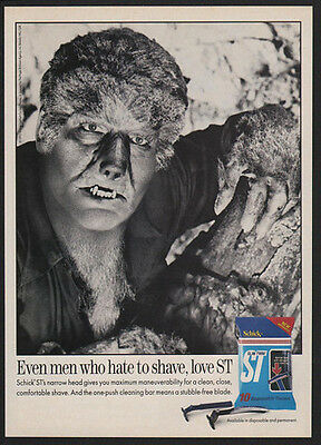 1992 SCHICK ST Razors - WOLFMAN - Even Men Who Hate to Shave Love ST  VINTAGE AD