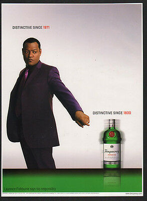 2002 TANQUERAY London Dry Gin - Actor LAURENCE FISHBURNE -  VINTAGE AD