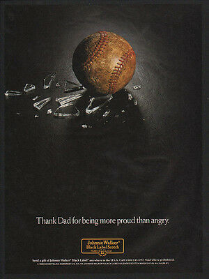 1989 JOHNNIE WALKER Black Label Scotch - Baseball & Broken Glass - VINTAGE AD