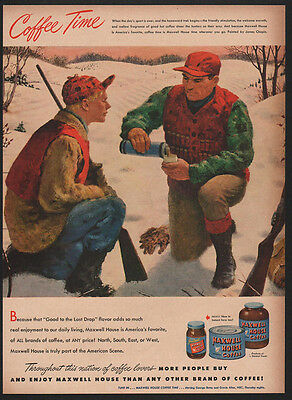 1948 MAXWELL House Coffee - Hunting - Shotgun - Gun - Dad & Son - VINTAGE AD