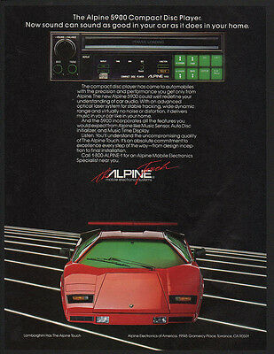 1985 ALPINE 5900 CD COMPACT DISC PLAYER & Red LAMBORGHINI Sports Car VINTAGE AD