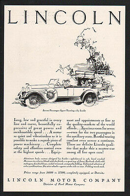 1928 LINCOLN 7 Passenger Touring Car - FORD - VINTAGE AD