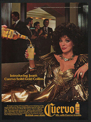 1986 CUERVO Tequila - JOAN COLLINS - CUERVO SOLID GOLD COLLINS VINTAGE AD