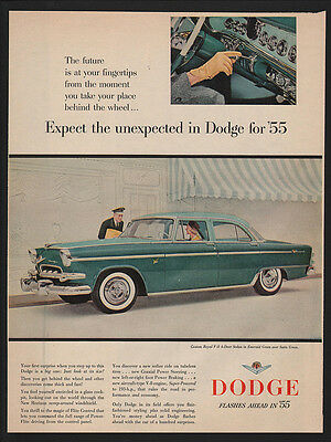 1955 Green  DODGE Custom ROYAL V-8 4-Door Car - Sedan -  VINTAGE AD