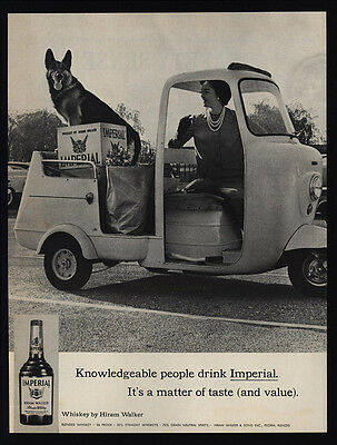 1963 IMPERIAL Whisky - GERMAN SHEPHERD Dog - Golf Cart - Pretty Woman VINTAGE AD