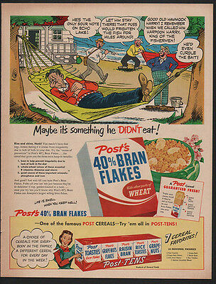 1950 POST'S BRAN FLAKES Cereal - Comic - Something He Didn't Eat -  VINTAGE AD
