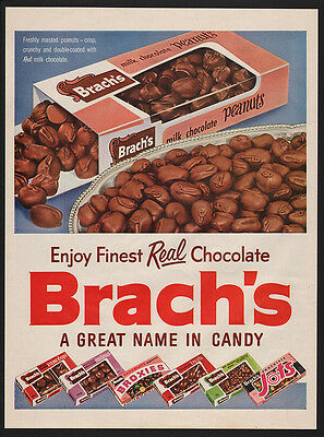1954 BRACH'S Milk Chocolate Roasted Peanuts- Finest Candy- VINTAGE AD