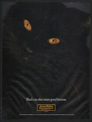 1989 JOHNNIE WALKER Black Label Scotch -Cool BLACK CAT w/ Yellow Eyes VINTAGE AD