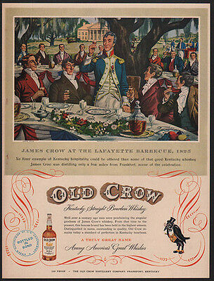 1951 OLD CROW Bourbon Whiskey - James Crow - Lafayette Barbecue - Art VINTAGE AD