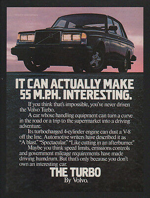 1983 VOLVO TURBO Car - It Can Actually Make 55 M.P.H Interesting - VINTAGE AD